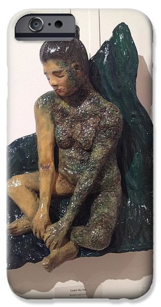 Figure Reliefs iPhone Cases - Under the Sea iPhone Case by Catherine Maroney