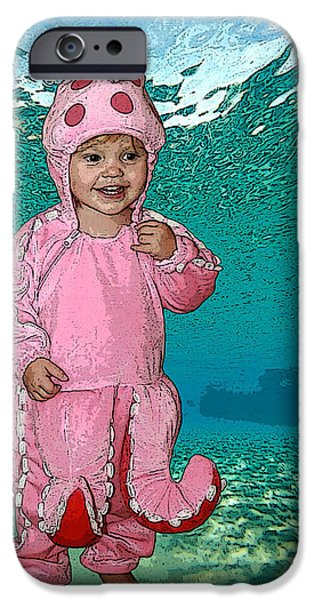 Little Girl Mixed Media iPhone Cases - Under the Sea iPhone Case by Ellen Henneke