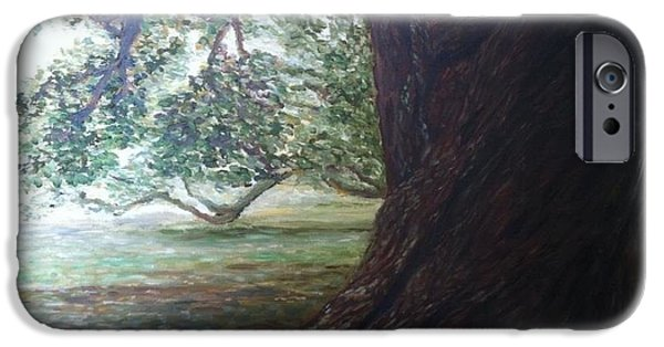 Park Scene Paintings iPhone Cases - Under The Shade Of The Trees iPhone Case by Chad Partain