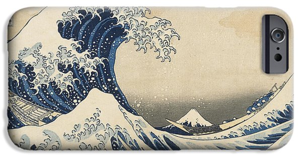 Spray Paintings iPhone Cases - Under the Wave off Kanagawa iPhone Case by Hokusai