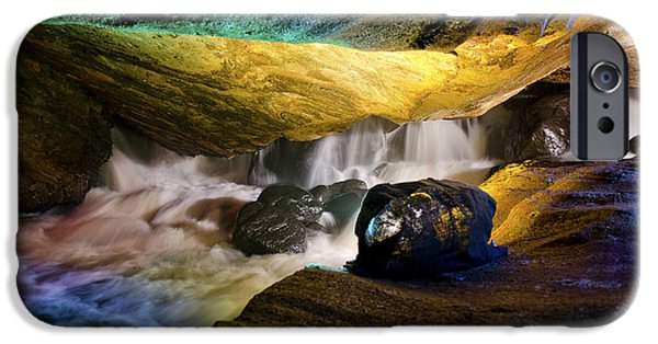 Water In Caves iPhone Cases - Underground waterfall 2 iPhone Case by Mark Papke