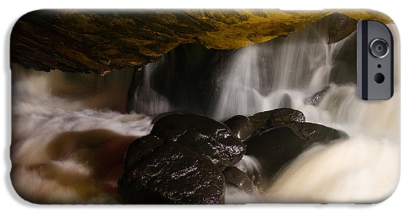 Water In Caves iPhone Cases - Underground waterfall iPhone Case by Mark Papke