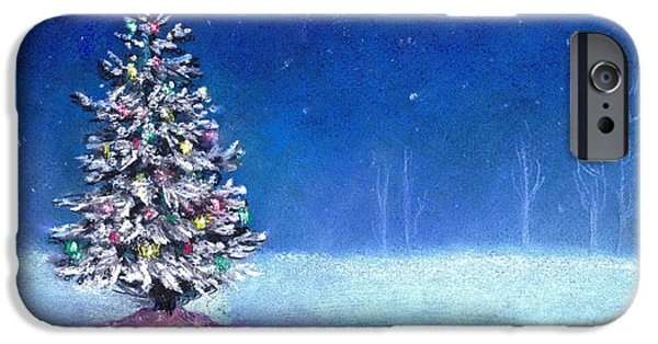 Snowy Night Drawings iPhone Cases - Underneath December Stars iPhone Case by Shana Rowe