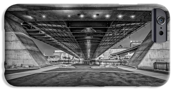 Charles River iPhone Cases - Underneath The Zakim Bridge BW iPhone Case by Susan Candelario