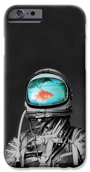 Costume iPhone Cases - Underwater astronaut iPhone Case by Budi Kwan