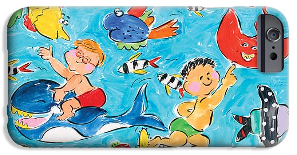 Sally Huss iPhone Cases - Underwater Boys iPhone Case by Sally Huss