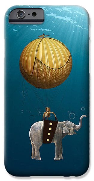 Elephants iPhone Cases - Underwater Fantasy iPhone Case by Marvin Blaine