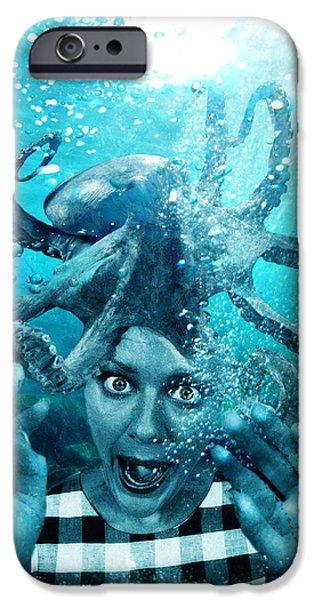 Raining Mixed Media iPhone Cases - Underwater Nightmare iPhone Case by Marian Voicu