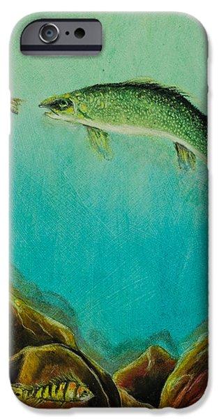 Marine Pastels iPhone Cases - Underwater Predators Panel 1 iPhone Case by Jeanne Fischer