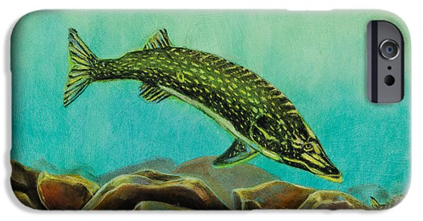 Drama Pastels iPhone Cases - Underwater Predators Panel 2  iPhone Case by Jeanne Fischer