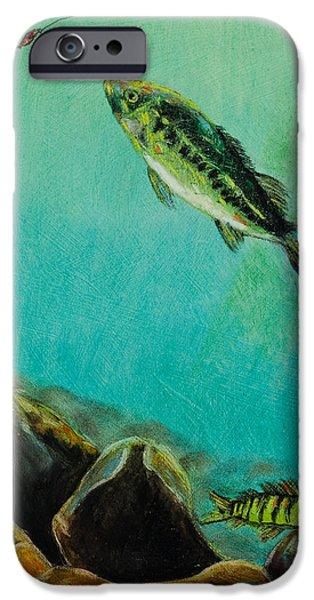 Nature Scene Pastels iPhone Cases - Underwater Predators Panel 3 iPhone Case by Jeanne Fischer
