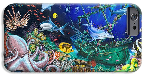 Fauna iPhone Cases - Underwater Shipwreck iPhone Case by Mark Gregory