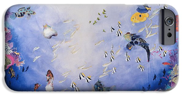 Marine iPhone Cases - Underwater World Iv Acrylic On Canvas iPhone Case by Odile Kidd
