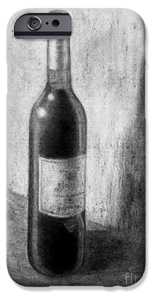 Table Wine Drawings iPhone Cases - Une bouteille de vin rouge iPhone Case by Jacqueline Barden