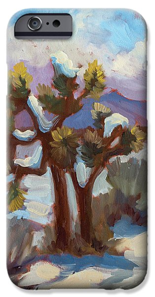 Park Scene iPhone Cases - Unexpected Snowfall at Joshua Tree iPhone Case by Diane McClary