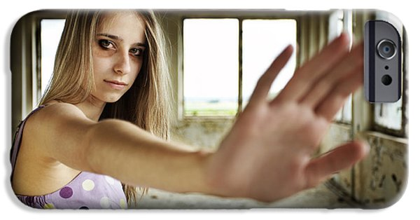 Fears Psychic iPhone Cases - Unhappy girl showing stop iPhone Case by Radka Linkova