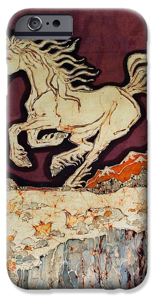 The Horse Tapestries - Textiles iPhone Cases - Unicorn Above Chasm iPhone Case by Carol Law Conklin