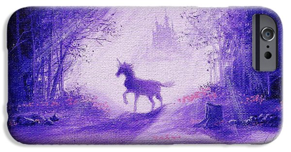 Sun Rays Paintings iPhone Cases - Unicorn And Castle Fairy Tale Fantasy iPhone Case by Tom Hoy