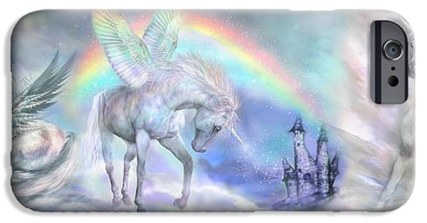 Unicorn Art iPhone Cases - Unicorn Dreams iPhone Case by Carol Cavalaris
