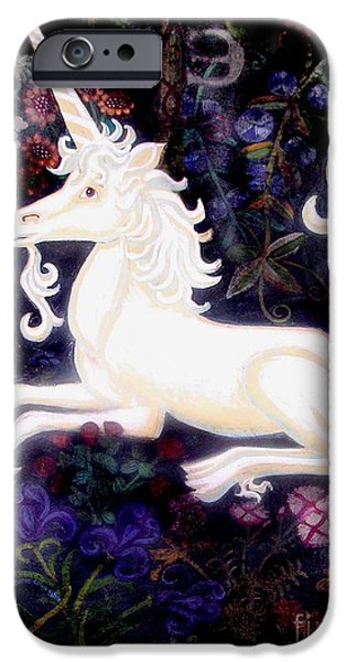 Unicorn Art Greeting Card iPhone Cases - Unicorn Floral iPhone Case by Genevieve Esson