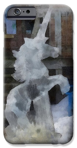Unicorn Art Greeting Card iPhone Cases - Unicorn Ice Sculpture Photo Art 01 iPhone Case by Thomas Woolworth
