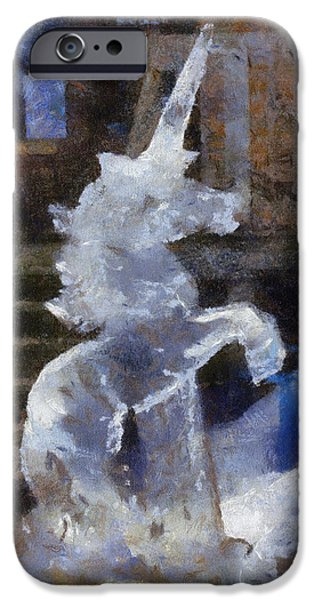 Unicorn Art Greeting Card iPhone Cases - Unicorn Ice Sculpture Photo Art 02 iPhone Case by Thomas Woolworth