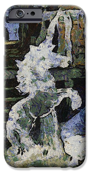 Unicorn Art Greeting Card iPhone Cases - Unicorn Ice Sculpture Photo Art 03 iPhone Case by Thomas Woolworth
