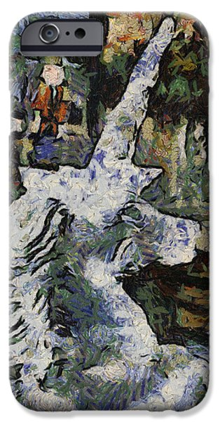 Unicorn Art Greeting Card iPhone Cases - Unicorn Ice Sculpture Photo Art 04 iPhone Case by Thomas Woolworth