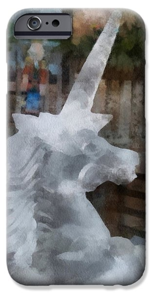Unicorn Art Greeting Card iPhone Cases - Unicorn Ice Sculpture Photo Art 05 iPhone Case by Thomas Woolworth