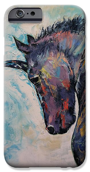Unicorn Art iPhone Cases - Unicorn iPhone Case by Michael Creese