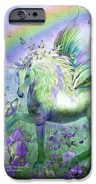 Unicorn Of The Butterflies iPhone Case by Carol Cavalaris