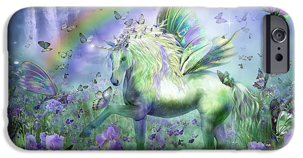Card Mixed Media iPhone Cases - Unicorn Of The Butterflies iPhone Case by Carol Cavalaris