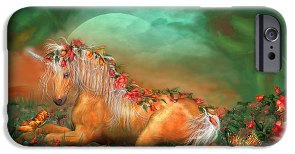 Unicorn Art iPhone Cases - Unicorn Of The Roses iPhone Case by Carol Cavalaris