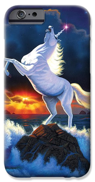Extinct And Mythical Photographs iPhone Cases - Unicorn Raging Sea iPhone Case by Chris Heitt