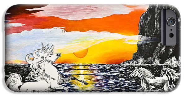 Ocean Sunset Drawings iPhone Cases - Unicorn iPhone Case by Svetlana Sewell