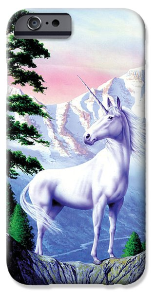 White Mountains iPhone Cases - Unicorn the land that time forgot iPhone Case by Garry Walton