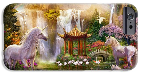 Surreal Landscape iPhone Cases - Unicorn Valley of the Waterfalls iPhone Case by Jan Patrik Krasny