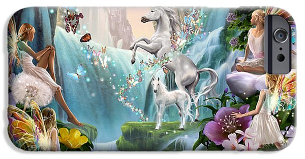 Sparks iPhone Cases - Unicorn and Fairy Waterfall iPhone Case by Garry Walton
