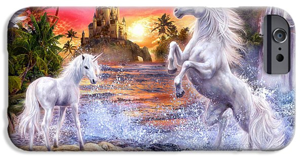 Mysterious Digital Art iPhone Cases - Unicorn Waterfall Sunset iPhone Case by Jan Patrik Krasny