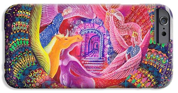 Unicorn Art Greeting Card iPhone Cases - Unicornio Dorado iPhone Case by Pablo Amaringo