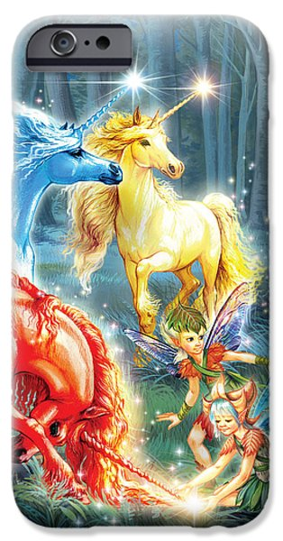 Creativity iPhone Cases - Unicorns and Fairies iPhone Case by Zorina Baldescu