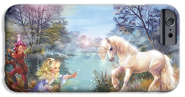 Unicorn Art iPhone Cases - Unicorns Lake iPhone Case by Zorina Baldescu