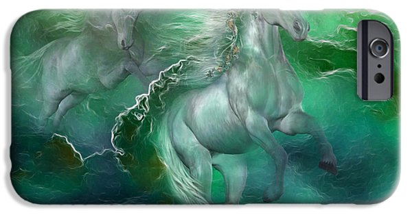 Unicorn Art iPhone Cases - Unicorns Of The Sea iPhone Case by Carol Cavalaris