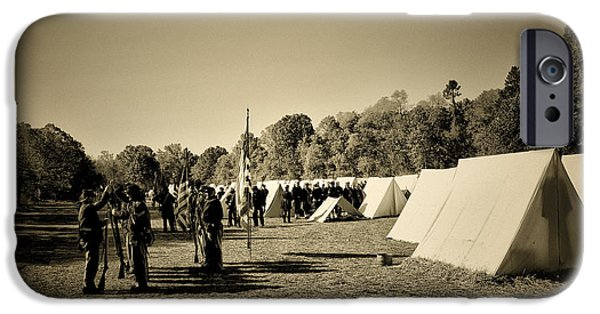 Civil War Re-enactment iPhone Cases - Union Army Camp - Civil War iPhone Case by Bill Cannon