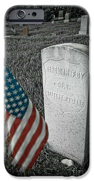 Headstones iPhone Cases - Union Army Civil War Veteran Headstone Hygiene CO iPhone Case by James BO  Insogna