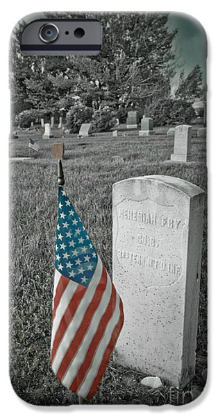 Headstones iPhone Cases - Union Army Civil War Veteran Headstone iPhone Case by James BO  Insogna