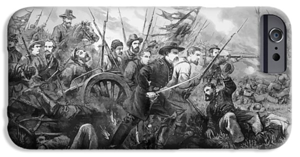 Cemetery Paintings iPhone Cases - Union Charge At The Battle Of Gettysburg iPhone Case by War Is Hell Store