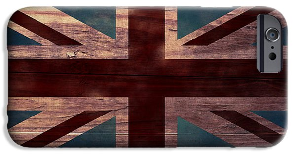 Aged Wood Digital iPhone Cases - Union Jack I iPhone Case by April Moen