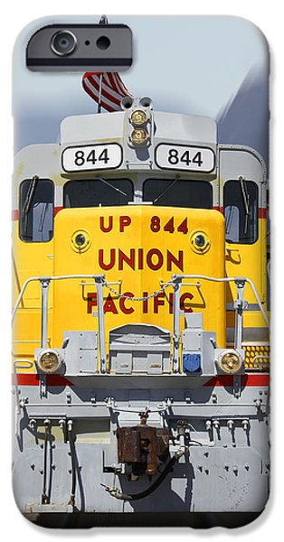 Union Digital Art iPhone Cases - Union Pacific 844 on the Move iPhone Case by Mike McGlothlen