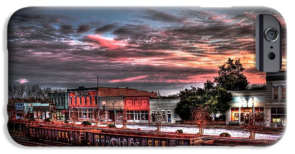 Rhodes iPhone Cases - Union Point GA Sunset iPhone Case by Reid Callaway
